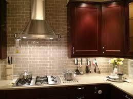 L Shape Small Kitchen Decorating Using Light Gray Subway Kitchen Glass Tile Backsplash  Ideas
