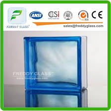 Blue Green Clear Ripple Patterned Glass Block Clear Water Cube Glass Brick Brick Glass For Decoration G B