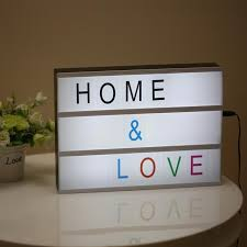 modern cinematic lightbox table lamp diy with letters number a4 size led lamp battery usb powered