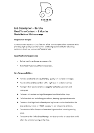 Job Description Of A Barista For Resume Barista Job Description Resume Samples Best Of Job Resume Barista 8