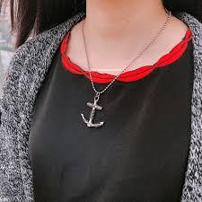 navy anchor pendant necklaces
