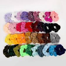 <b>Free shipping Fashion women</b> colorful candy velvet hair scrunchies ...