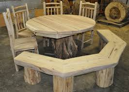 Image creative rustic furniture Unique Custom Pedestal Table With Radius Bench And Chairsresized Appalachian Designs Creative Rustic Furniture Bound For New England