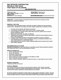Job Descriptions For Resume Inspirational Teller Job Description For