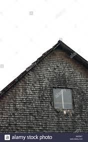Giebel Fassaden Fenster Alten Schindeln Graue Und Verwitterte
