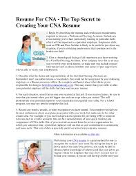 Cna Duties Resume Impressive Resume For Cna The Top Secret To Creating Your Cna Resume