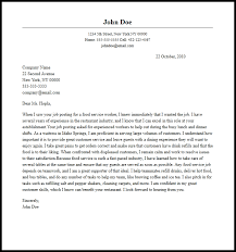 create cover letter food service cover letter