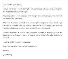 Thanks Letter After Phone Interview Job Interview Follow Up Email Template Sample Thank You Email
