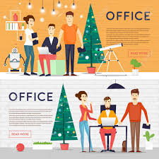 Merry Christmas And Happy New Year Office Businesspeople Office
