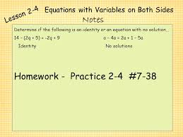 equations with variables on both sides 16 equations
