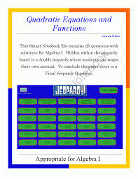 algebra i smartboard jeopardy game quadratic equations and functions from jamesrahn on teachersnotebook com