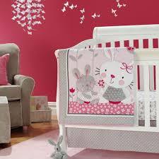 new baby girls pink neutral animal little bunny 7pcs crib bedding set with bu