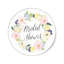 wedding shower images. Pastel Spring Floral Wreath Bridal Shower Stamp Classic Round Sticker Wedding Images
