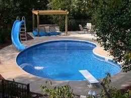 Swimming Pool Designs With Slides Kidney Shaped Inground Swimming