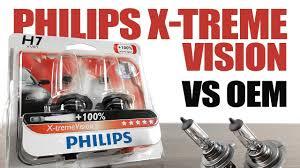 Philips Xtremevision 100 Vs Oem Original Headlight Bulbs Comparison