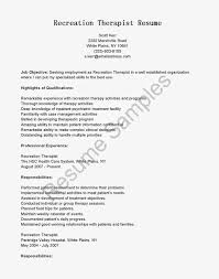 Awesome Collection Of Resume Recreational Therapist Therapeutic