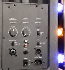 bose f1 model 812. the back panel of model 812 includes iec power connection and rocker switch, as well dual audio inputs. first input uses a combo xlr/trs bose f1