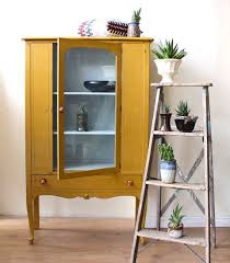 mustard yellow furniture. mustard yellow display cabinet painted with milk paint furniture w