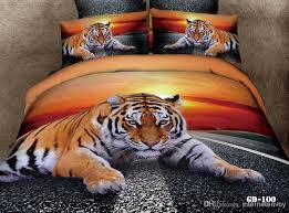 Manly Tiger Sunset Active Printed Cotton Bedding Set For Queen