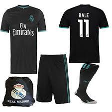 Away Jersey Nb Benzema Bale Bag Ronaldo 17 18 Kid 2017 Real Ramos Youth Shirt Kit 2018 Socks Short Madrid Replica
