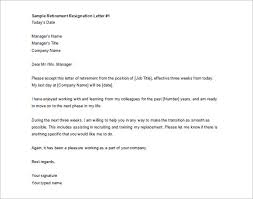printable sample retirement resignation letter free download retirement letter to company