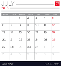 2015 July Calendar Page Royalty Free Vector Image