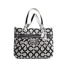 Coach Signature Op Art Poppy Glam Shopper Bag Purse Tote 15331 Black White