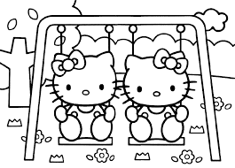 Hello Kitty Playing In A Park Coloring Pages Free Printable Coloring