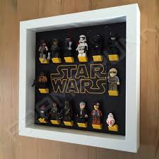 star wars white frame display with minifigures side view yellow lego mounting bricks
