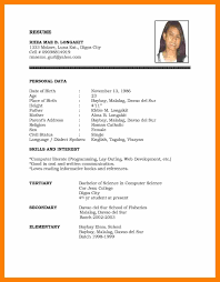 Personal Resume 100 personal data in resume students resume 24