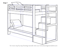 bed drawing easy. Beautiful Bed Step Draw Bunk Bed Drawingtutorials For Drawing Easy