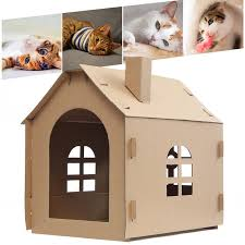 hot pet cat cardboard house bedroom scratching corrugated paper kitten lounge diy toys for kittens