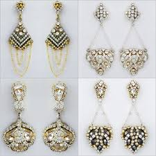 modern vintage bridal chandelier earrings