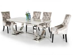 arianna 200cm cream marble dining table and 6 eden silver chairs awesome silver dining tables