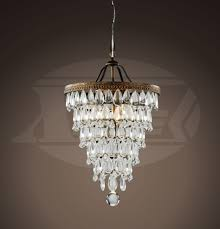 annabelle crystal cone shape 4 light antique copper glass drop crystal chandelier 22