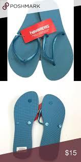 Havaianas Flat Flipflops Blue Splash Sz 41 11 12 Sizing