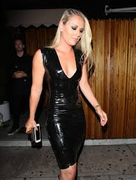 lindsey vonn in tight leather dress in west hollywood