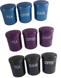 Purple Kitchen Canister Sets Plastic Tea Sugar Coffee Jars Pots Canisters Kitchen Storage Set