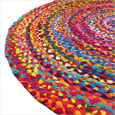 round colorful woven chindi braided area decorative boho bohemian rug 4 to 6 ft 3