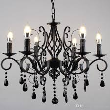 european candle chandelier lighting living room wrought iron led crystal chandelier clothing personality black chandeliers retro lamps rectangle