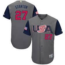 Men's Jersey Gray Classic Usa Majestic Baseball Giancarlo Authentic 2017 World Stanton
