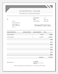Transport Bill Formats Templates For Ms Excel Word
