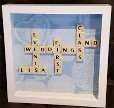 scrabble art frame with your business name on or as a gift for