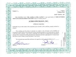 Form Of Share Certificate Audeo Oncology Inc Form S 1 A Ex 4 1 Specimen Common