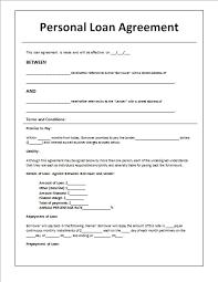 Family Loan Template Personal Family Loan Agreement Template Personal Loan Agreement
