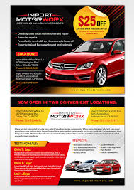 modern professional automotive postcard design for import motorworx in united states design 13657789