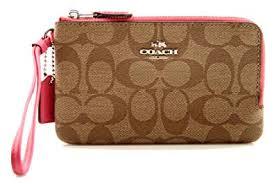 Coach Signature Double Corner zip Wristlet Wallet - Silver   Khaki   Magenta