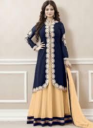 Designer Anarkali Suits Uk Ayesha Takia Navy Blue Beige Embroidery Work Georgette