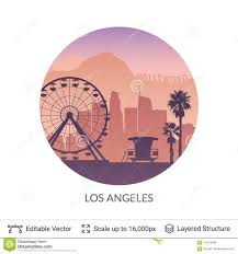 Los Angeles Famous City Scape Stock Vector Illustration Of