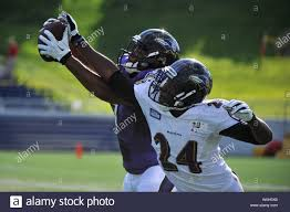 Baltimore Ravens Aaron Mellette (back) goes against teammate cornerback  Corey Graham during a team practice in Annapolis, Maryland on August 4,  2013. UPI/Kevin Dietsch Stock Photo - Alamy